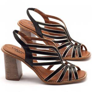 Sandália Salto alto de 9cm em couro preto - Código - 3537