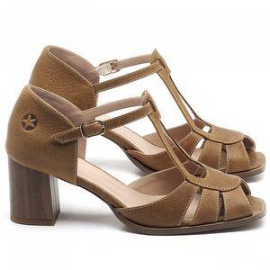 Sandália Salto Médio de 6cm em couro Marrom Conhaque - Código - 3689