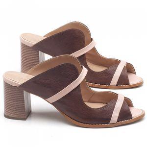 Sandália Salto Médio de 6cm em couro Marrom Telha - Código - 3624