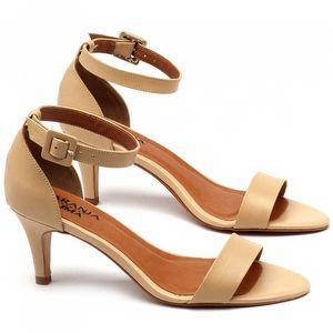 Sandália Salto médio de 7cm em couro bege - Código - 3553