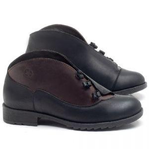 Flat Boot em couro Preto com Telha - Código - 56130
