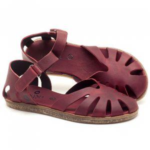 Rasteira Flat em couro Vermelho - Código - 141017