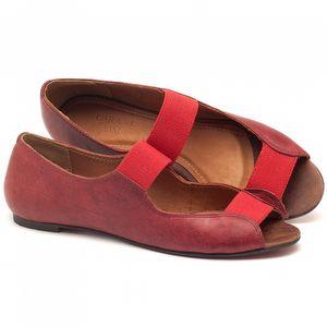 Sapatilha Bico Aberto em couro vermelho - Código - 56030