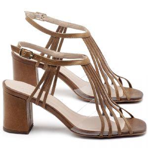Sandália Salto Médio de 6cm em couro Marrom Conhaque - Código - 3557
