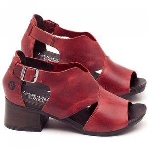 Sandália Boho em couro vermelho com salto de 5cm - Código - 137103