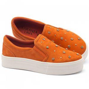 Tênis Cano Baixo em couro laranja - Código - 99072