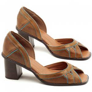 Sandália Salto Médio de 6cm em couro Caramelo com Azul Turquesa - Código - 3489