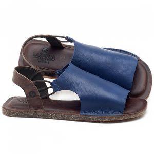 Rasteira Flat em couro Azul Bic - Código - 141043
