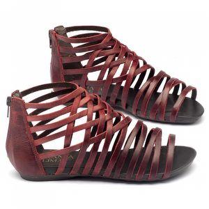 Rasteira Flat em couro vermelho 137027