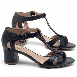 Sandália Salto Médio de 6cm em couro Preto - Código - 9412