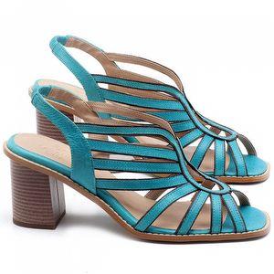 Sandália Salto Médio de 6cm em couro Azul Piscina - Código - 3647