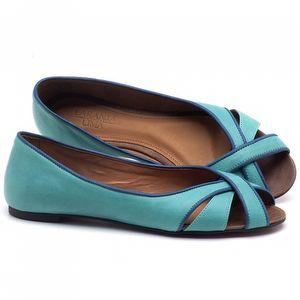 Sapatilha Bico Aberto em couro Azul Piscina - Código - 56186