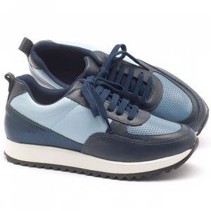 Tênis Cano Baixo em couro azul - Código - 99061