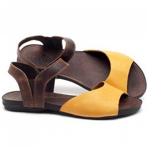 Rasteira Flat em couro Amarelo - Código - 137184