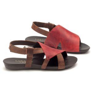 Rasteira Flat marrom com vermelho em couro 137015