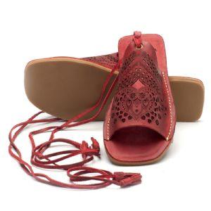 Rasteira Flat vermelho em couro 137020