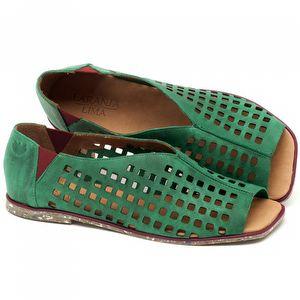 Rasteira Flat em couro verde - Código 145016