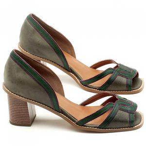 Sandália Salto de 7cm em couro Musgo com Verde Militar - Código - 3601