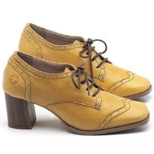Oxford com salto em couro Amarelo - CÓDIGO - 3704