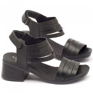 Sandália Boho em couro preto com salto de 5cm  137141