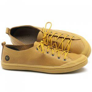Tênis Cano Baixo em couro Amarelo - Código - 141112