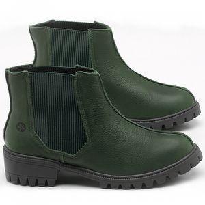 Bota Cano Curto em couro Verde Militar - Código - 137250