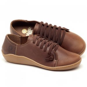 Flat Shoes em couro Marrom Telha - Código - 139027