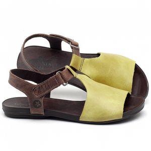 Rasteira Flat em couro Amarelo - Código - 137177
