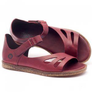 Rasteira Flat em couro vermelho - Código - 141016