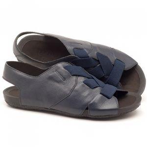 Rasteira Flat em couro azul marinho - Código - 56140