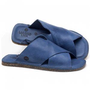 Rasteira Flat em couro Azul - Código - 141155