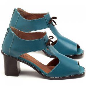 Sandália Salto médio de 6cm em couro azul - Código - 3581