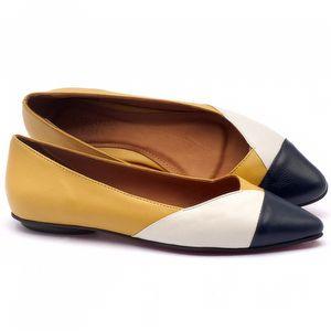Sapatilha Bico Fino em couro amarelo, marinho e branco - Código - 56120