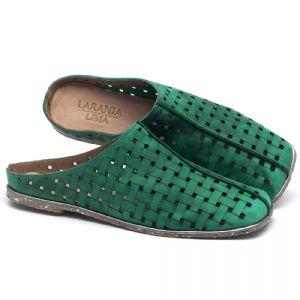 Rasteira Flat em couro verde - CÓDIGO - 145042