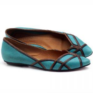 Sapatilha Bico Fino em couro Azul Piscina - Código - 56176