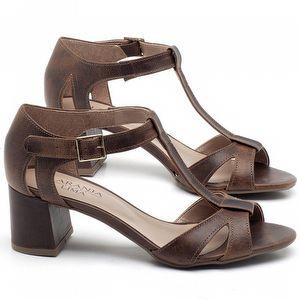 Sandália Salto Médio de 6cm em couro Marrom Tan - Código - 9412