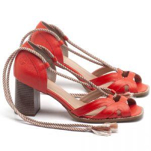 Sandália Salto Medio de 6cm em couro Laranja - Código - 3661