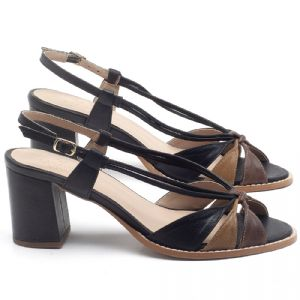 Sandália Salto Médio de 6cm em couro Preto com Marrom - Código - 3665