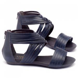 Rasteira Flat em couro azul 137005