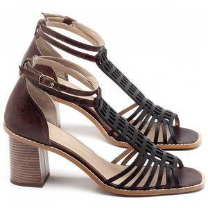 Sandália Salto de 6cm em couro Preto - Código - 3551