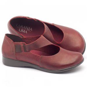 Sapatilha Bico Fechado em couro vermelho - Código - 137084