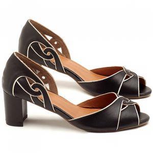 Peep Toe Salto Medio de 6cm em couro Preto - Código - 3437