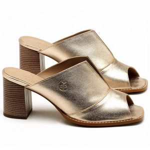 Sandália Salto Médio de 6cm em couro Glace - Código - 3659