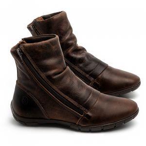 Flat Boot em couro Marrom Tan - Código - 137260