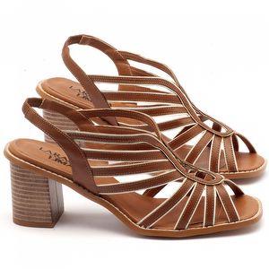 Sandália Salto Médio de 6cm em couro marrom - Código - 3538