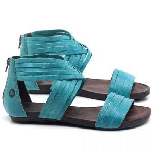 Rasteira Flat em couro Azul Piscina - Código - 137189