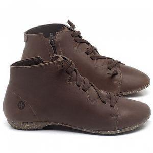 Flat Boot em couro Marrom Telha - Código - 148025
