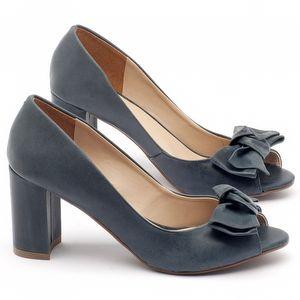Peep Toe Salto Medio salto médio de 7cm em couro azul - Código - 9404