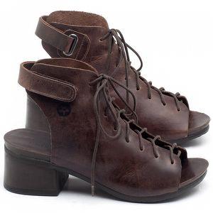Sandália Boho em couro marrom com salto de 5cm - Código - 137193