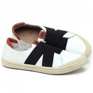 Tênis Cano Baixo em couro Branco com preto - Código - 141150